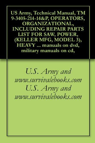 US Army, Technical Manual, TM 9-3405-214-14&P, OPERATORS, ORGANIZATIONAL, INCLUDING REPAIR PARTS LIST FOR SAW, POWER, (KELLER MFG, MODEL 3), HEAVY DUTY, ... military manuals on cd, (English Edition)