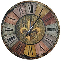 Lulu Decor, 23.50 Vintage French Country Style Rustic Round Wood Wall Clock with Large Roman Numerals