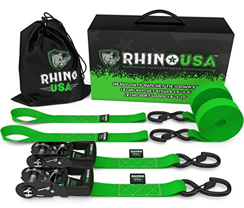 of ratchet tie down straps dec 2021 theres one clear winner RHINO USA Ratchet Straps Tie Down Kit, 5,208 Break Strength - Includes (2) Heavy Duty 1.6