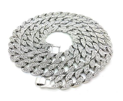 Shiny Jewelers USA para Hombre Iced out Hip Hop Plata Cz Miami Cubano Link Cadena 8