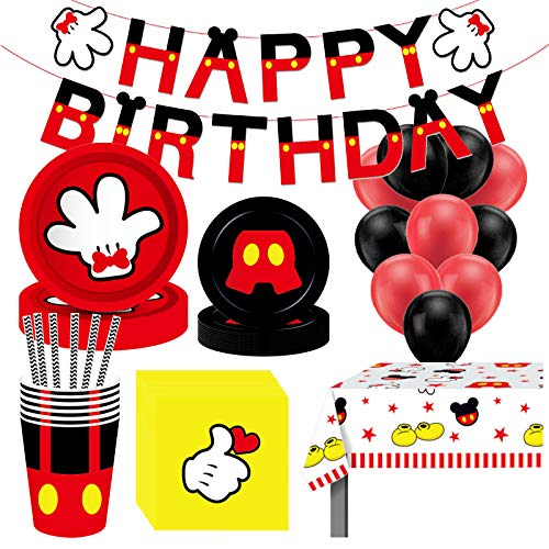 Xinqin 91 Pcs Mickey Party Decoration Set, Mickey Party Supplies Birthday Party Tableware Including Plates, Cups, Napkins, Tablecloth, Balloon, Straws Party Decoration for Kid Birthday, Baby Shower