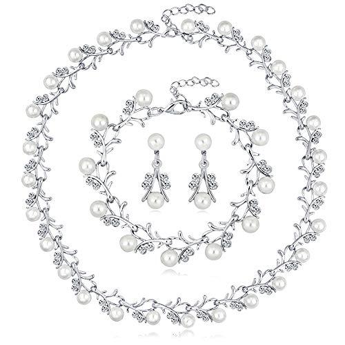 DTWAWA 3 Set di Gioielli con Set di Pezzi, Set di Orecchini con Collana di Bracciali, Set di Gioielli di Perle, Gioielli da Donna