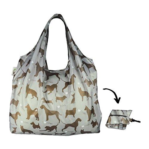 Re-Uz Lifestyle Shopper XL - pieghevole grande borse della spesa riutilizzabili - I Love Dogs Steel