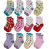 Yafane 12 Pares de Calcetines Antideslizantes para Niños Pequeños Algodón Lindo con Puños Calcetines Antideslizantes para Bebés (Niñas, 5-7 años)