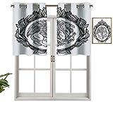 Hiiiman Cenefa de cortina opaca mitológica con alas de bestia mágica griffin en anillo de fuego, emblema victoriano heráldico, juego de 2, tratamiento de ventana de 137 x 60 cm para sala de estar