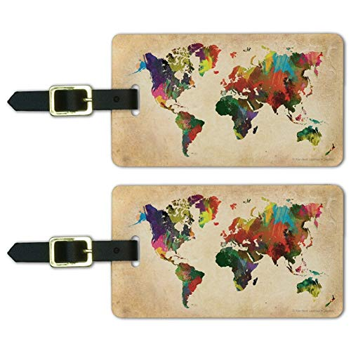 Colorful Rainbow Map of the World Earth Luggage ID Tags Cards Set of 2