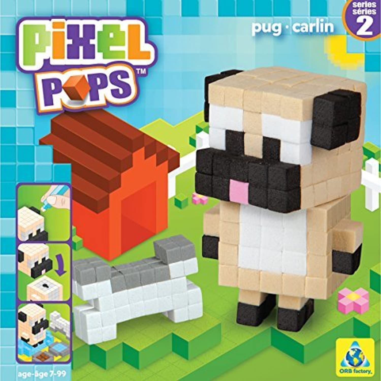 Pixel Pops Figure Kits-Pug by The Orb Factory