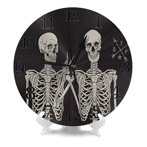 Wall Clock Large Halloween Human Skull Skeletons Best Friends Victory Non Ticking Kitchen Bedroom Bathroom Wall Clocks Battery Operated Silent Outdoor 3d Printed Clock Living Room Decor for Kids Women