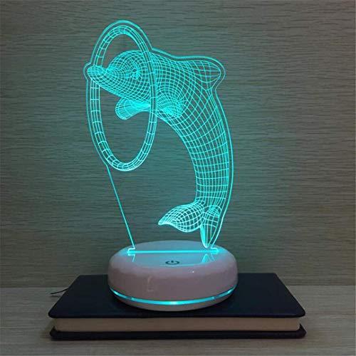 MTX Ltd Lumière de Nuit Créative Dauphin Mignon LED Lampe de Table Tactile Coloré Plug-in Charge de Chevet de Rêve Charge Mignonne Fille Fille 3D Night Light