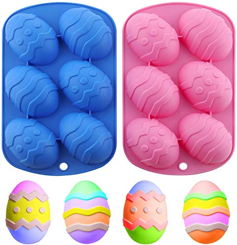 2 confezioni di stampi in silicone a forma di uovo di Pasqua, cioccolato a forma di uovo di Pasqua a 6 cavità, stampi in silicone per cioccolato, gelatina, cubetti di ghiaccio, sapone