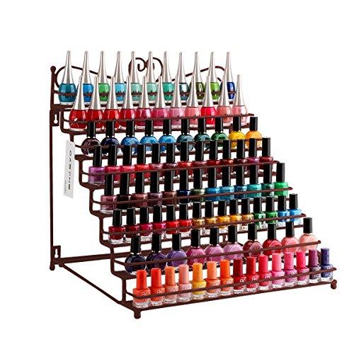 Dazone Wandregal mit 8 Metall Ablagen für Nagellack oder ätherische Öle Nagellack zur Selbstmontage Aufbewahrung Display Regal