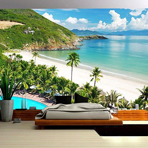 Bilder Leinwand Wandbild Wohnzimmer,Hawaiianischer Strand- Wandbilder 3D Natürliche Landschaft Modern Büro Kino Hotel Korridor Wandgemälde Für Schlafzimmer Wandtapete Fototapete 250x175cm