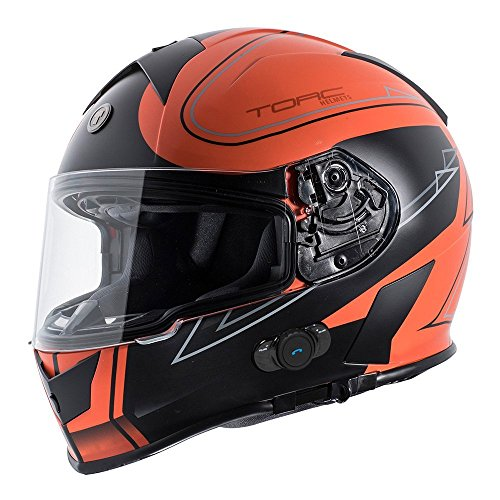 TORC T14B Bluetooth Integrated Mako Full Face Motorcycle Helmet With Graphic (Stryker Orange) X-Large