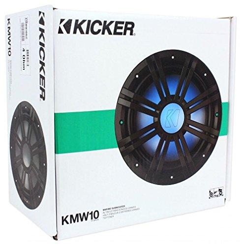 "New Kicker 41KMW104LC 10"" 150 Watt RMS 4-Ohm Marine/Boat LED Subwoofer Sub KM10"