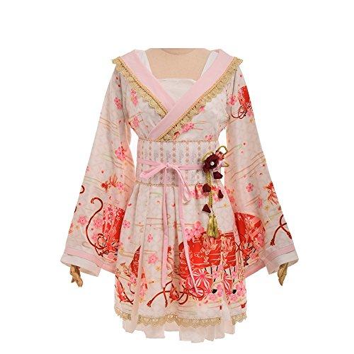 Double Villages Japonés Estilo Kimono Bata de baño Kimono Dormido Túnica Cosplay Disfraz Túnica (Rosado, S)