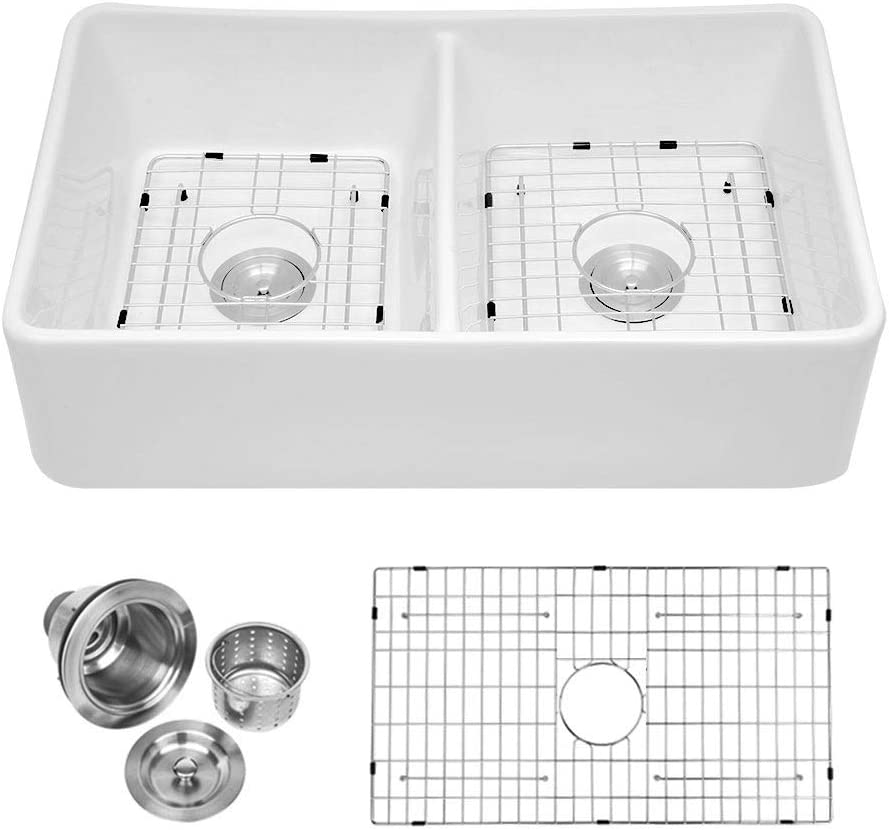 MISC Direct High order stock discount 32 Inch White Ceramic Farmhouse Sink Double Re Kitchen Bowl