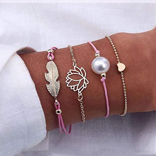 BIJOUX Pulsera de piedra, pulsera rosa 5 piezas Juego de mapa de océano de Bohemia Pulseras con dijes de tortuga de corazón para mujeres Conjuntos de regalos de joyería Accesorios de ropa personaliza