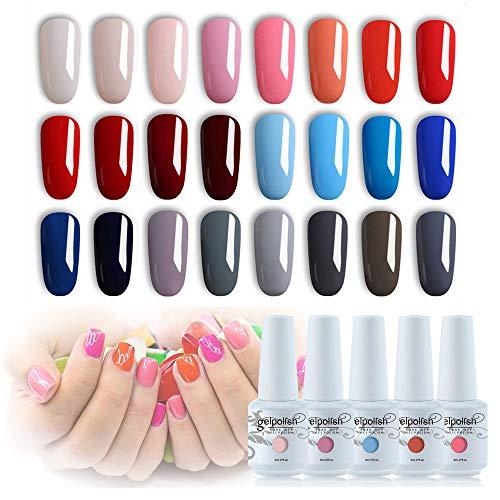 Vishine 24Pcs Gift Set Gel Nail Polish Kit Soak Off UV LED Nail Gel Polishes for Nail Art 8 ML/PC Pack of 24 Pretty Colors Series Kit 002