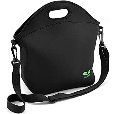 F40C4TMP Insulated Neoprene Lunch Bag with pocket & Adjustable Shoulder Strap Black 7L