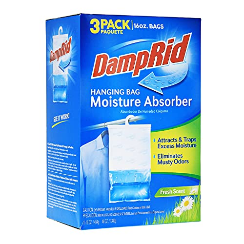 DampRid Fresh Scent Hanging Bag Moisture Absorber for Closets - 3 Pack (16 oz. ea.); Traps Excess Moisture for Fresher, Cleaner Air