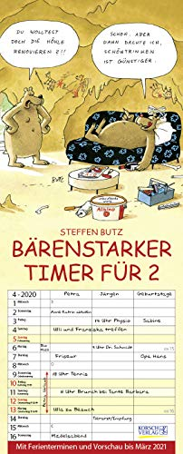 Bärenstarker Timer für 2 2020: Familienplaner mit 3 breiten Spalten. Familienkalender mit Bären-Comics, Ferienterminen, Vorschau bis März 2021 und tollen Extras. 19 x 47 cm.