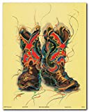 Western Rodeo Cowboy Old West Boots Contemporary Wall Decor Picture Art Print Poster (16x20)