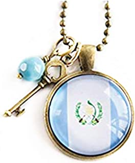 Flag of Guatemala Necklace , Guatemalan Flag Jewelry ,Country Flag Patriotic Pendant, Central America , Custom Jewelry ,Blue and White