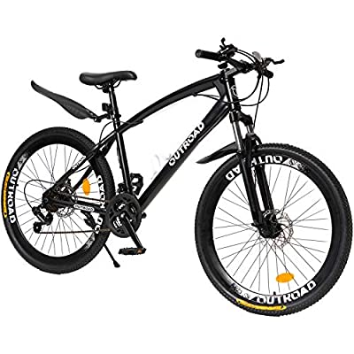 Max4out Mountain Bike 21 Speed Shimano Derailleur with High Carbon Steel Frame, 26 inches Wheels, Double Disc Brake, Front Suspension Anti-Slip Bikes, Black