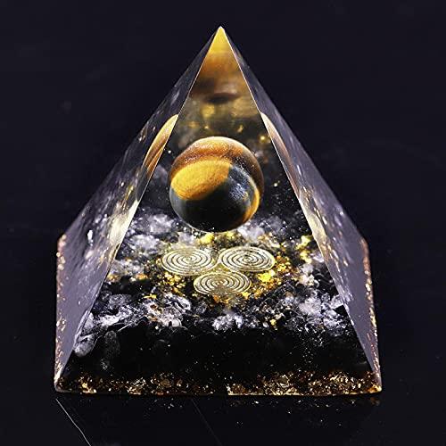 Ucjhxfr Pirámide chakras ojo de tigre Ucjhxfrcrystals Obsidiana Energy, decoración para el hogar o la oficina, resina de arco, regalo, decoración