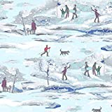 CLOTH168 Stoff mit Ski-Wintermotiv, Blau, 0,5 m, 50 cm x