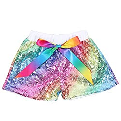 Rainbow White Sequin Shorts Glitter on Both Sides