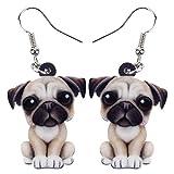 DOWAY Acrylic Pug Dog Earrings Dangle Drop Fashion Pet Jewelry For Women Girls Kids Charm Gift (Black)