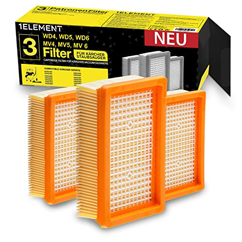 [Material] 3 filtros para aspiradora Karcher [WD4, WD5, WD6/MV4, MV5, MV6] – 3 filtros planos para alérgicos contra polvo fino y olores [WD 4 5 6 MV] Instalación mejorada.
