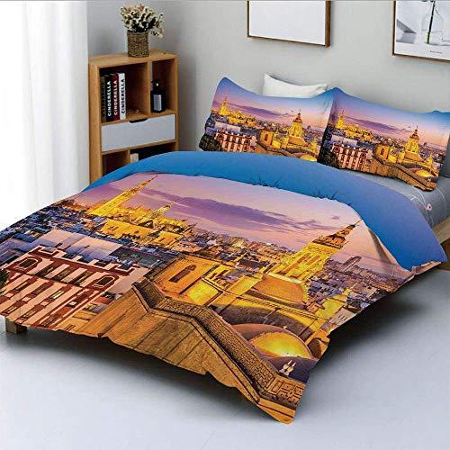 Juego de funda nórdica, Skyline de la ciudad en España Antiguo Mediterráneo Turístico Histórico Estampado nostálgico HomeDecorative Juego de cama de 3 piezas con 2 fundas de almohada, Multi, el mejor