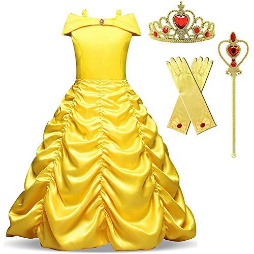 TTYAOVO Vestido de Fiesta de Princesa con Hombros Descubiertos para Niñas Talla(120) 4-5 Años Amarillo