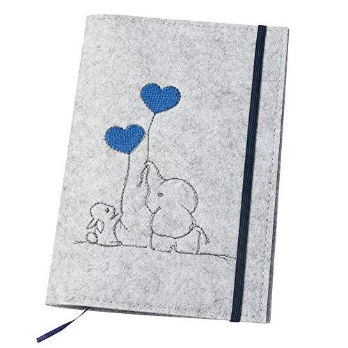 luxdag U-Heft Hülle mit Gummiband aus Filz (Farbe & Stickerei wählbar) - Hülle für Kinderuntersuchungsheft & Impfpass - Organizer - Geschenk für werdende Mütter & Baby