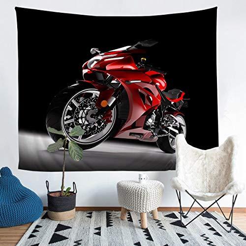 Tapiz para colgar en la pared, diseño de moto de cross, para niños y niñas, color rojo, para pared, para dormitorio, sala de estar, tamaño mediano 137 x 132 cm