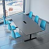 Weber - Tavolo da conferenza a forma di barca da 240 x 120 cm, serie Easy, colore: antracite con meccanismo elettrificato