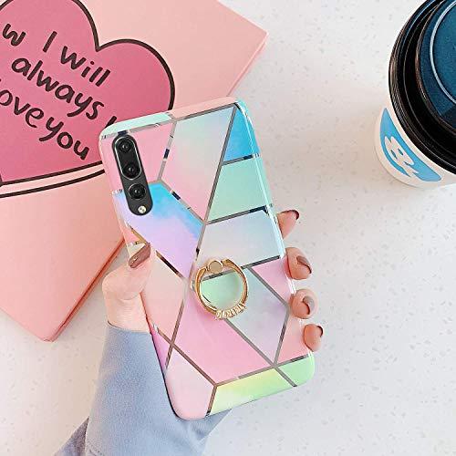 Saceebe Compatible avec Huawei P20 Pro Coque Silicone Motif Géométrique Marbre Housse Etui avec Anneau Support Bague Glitter Paillette Brillant Strass Ultra Fine Fille Case,Bleu Rose