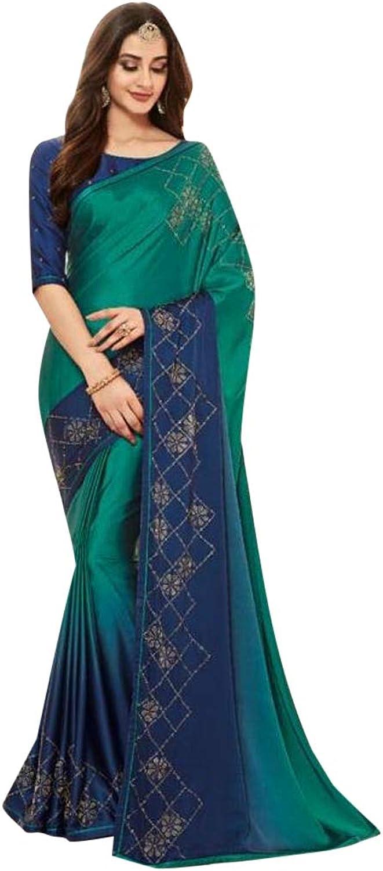 bluee Green Stylish Indian Designer Sari Swarovski stone work Saree with Blouse for Women 7506