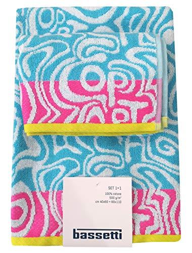 Bassetti Juego de 2 toallas de rizo de algodón puro (Op Art T1) de 2 piezas (1 + 1 toalla de invitados de 40 x 60 cm + 60 x 110 cm)
