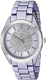 So & Co New York Soho Women's Purple Dial Stainless Steel Band Watch - 5096A.2