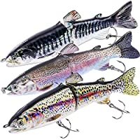 "TRUSCEND Fishing Lures for Bass 4.9"" Trout Multi Jointed Swimbaits Slow Sinking Hard Lure Fishing Tackle Kits Lifelike Ice Fishing Augers (D-J2E-combo)"