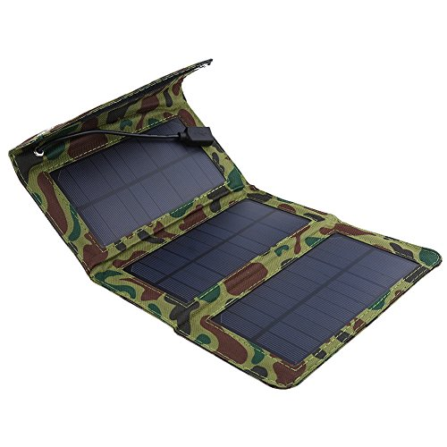 Topsale-ycld Cell Phone Solar Chargers 5W 5V Waterproof Foldable Portable Solar Panel Charger Outdoor Mobile Power Bank with USB Cable Solar Power Charging Stations
