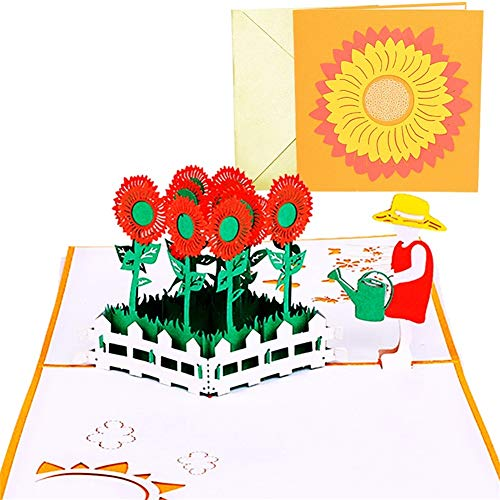 Sunflower Pop Up Card with Envelope, Handmade 3D Pop Up Greeting Cards for Mother's Day, Card for...