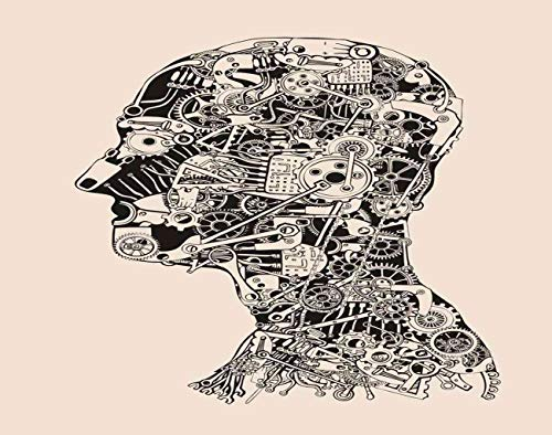 """Guftay Jigsaw Puzzles 1000 Pieces for Adults Steampunk Cogs Gears Human Head Cyborg Profile Robot Mechanism Anatomy Face Eye Wooden DIY Painting Puzzle Classic Games for Friend Or Family 20""""x30"""""""