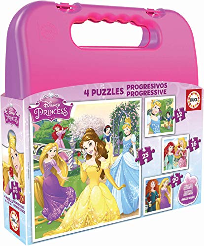 Educa - Princesas Disney Maleta, Conjunto de Puzzles Progres