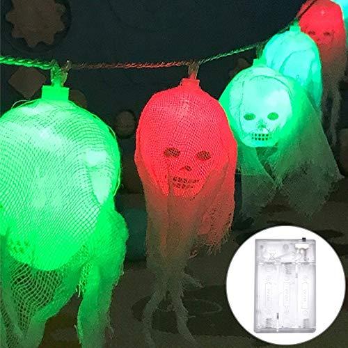 Yangeryang Gauze Ghost Head Diseño Colorido Luz De Halloween Serie LED Luz De Cadena LED, 20 Leds 3 X AA Baterias Caja De Baterías Party Party Props Fairy Decoración Noche Lámpara (Color : Color1)