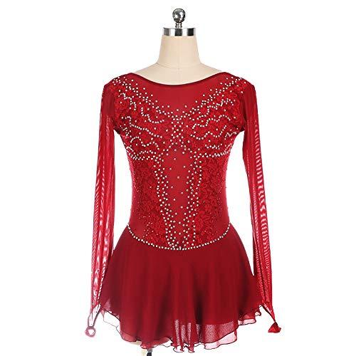 LYABANG Vestido De Patinaje Artístico Mujer Maillot De Danza Ballet para Niña Manga Larga Leotardo Gimnasia Rítmica con Falda Body Baile Práctica Bailarina,Red-L