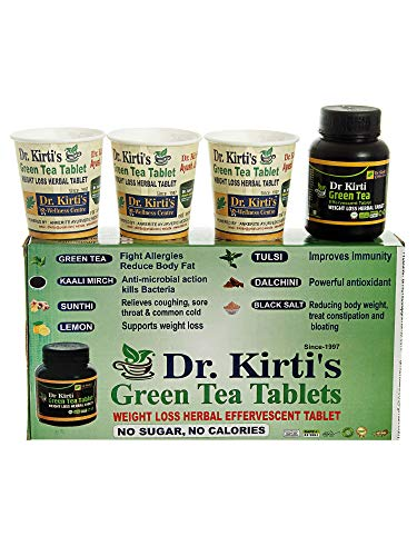 Ankerite Dr. Kirti's Green Tea Weight Loss and Immunity Booster Herbal Effervescent Tablet -Zero sugar, Zero calorie with Dalchini, Tulsi, Ginger, Kalimirch and Lemon- 60 tablets with 60 glasses.